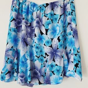 Beautiful Floral Pattern print Blue/white/Black Mini Skirt